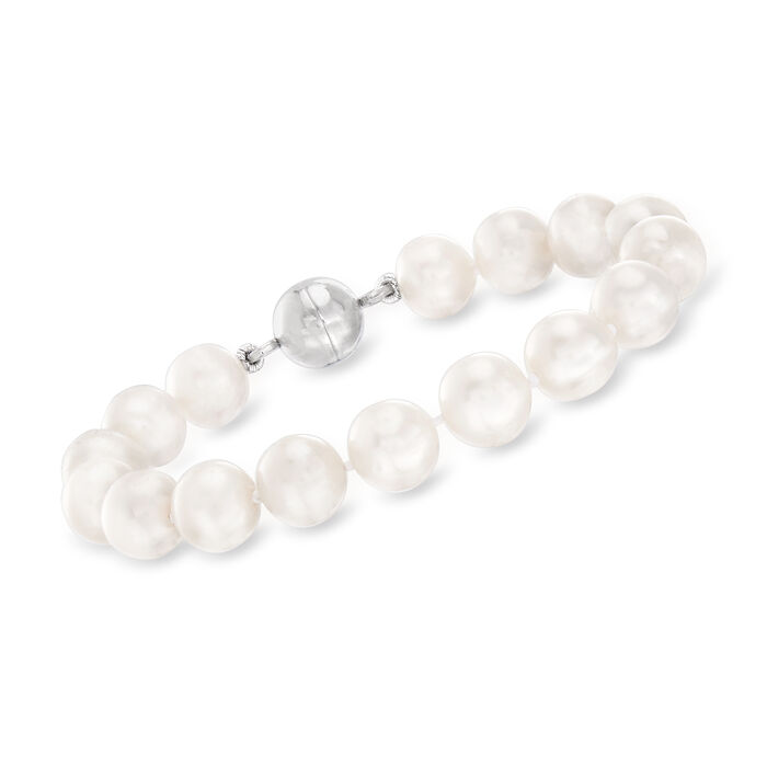 9-10mm Cultured Pearl Bracelet in Sterling Silver with Magnetic Clasp, , default