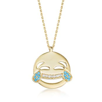 "14kt Yellow Gold Over Sterling Laughing Emoji Necklace With Simulated Turquoise and CZs. 18"", , default"