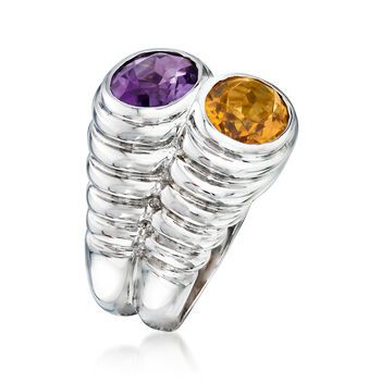C. 1990 Vintage Bulgari 1.70 Carat Amethyst and 1.55 Carat Citrine Ring in 18kt White Gold. Size 6