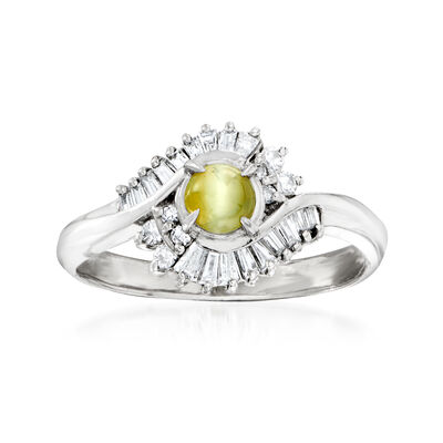 C. 1980 Vintage Chrysoberyl and .23 ct. t.w. Diamond Ring in Platinum