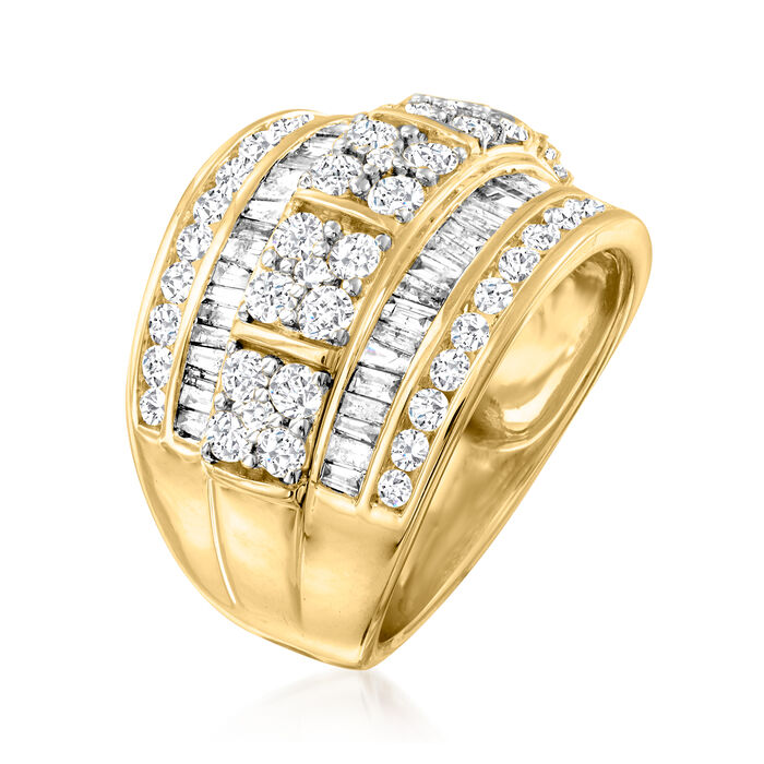 2.00 ct. t.w. Round and Baguette Diamond Multi-Row Ring in 14kt Yellow Gold