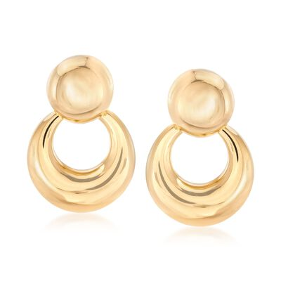 Italian 18kt Yellow Gold Doorknocker Drop Earrings, , default