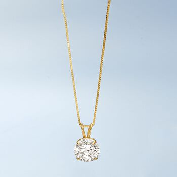 1.00 Carat CZ Solitaire Necklace in 14kt Yellow Gold. 18""