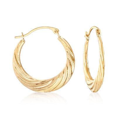14kt Yellow Gold Twist Hoop Earrings, , default