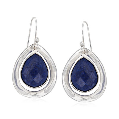Blue Lapis Drop Earrings in Sterling Silver, , default