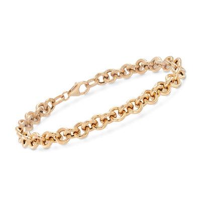 Italian 18kt Yellow Gold Rolo-Link Bracelet, , default