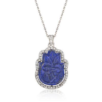 Lapis and 1.17 ct. t.w. White Zircon Floral Hamsa Pendant Necklace in Sterling Silver, , default