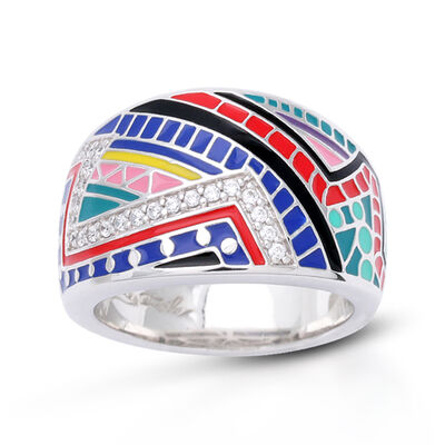 "Belle Etoile ""Carnival"" Multicolored Enamel and .60 ct. t.w. CZ Ring in Sterling Silver"