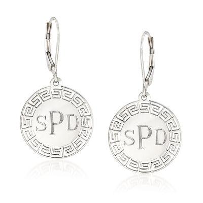 Greek Key Personalized Drop Earrings in Sterling Silver, , default