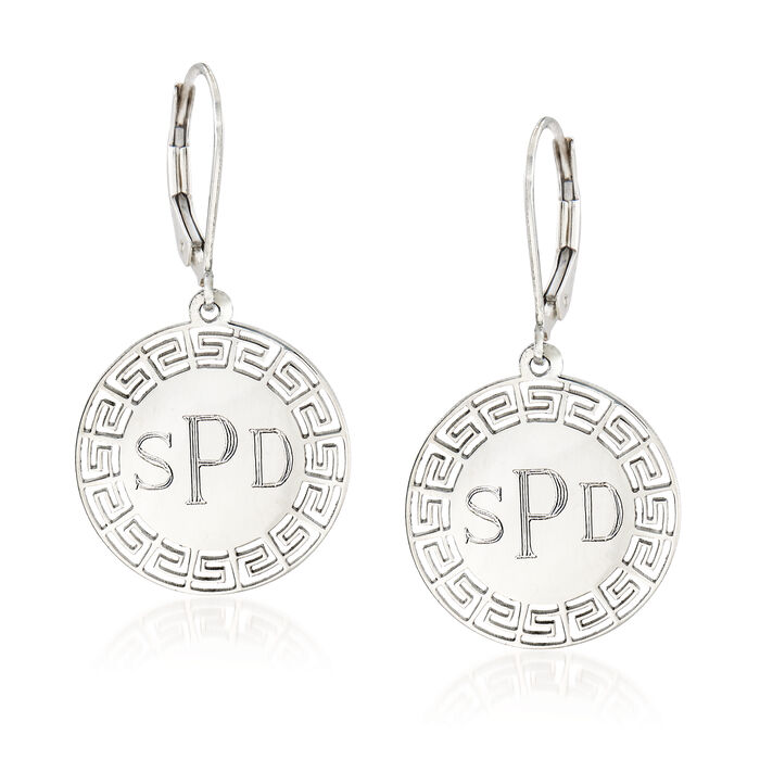 Greek Key Personalized Drop Earrings in Sterling Silver, , default