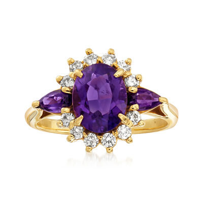 C. 1980 Vintage 2.15 ct. t.w. Amethyst and 1.80 ct. t.w. Diamond Ring in 18kt Yellow Gold, , default