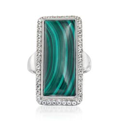 Green Malachite and .80 ct. t.w. White Topaz Rectangle Ring in Sterling Silver, , default
