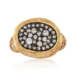 C. 1990 Vintage .67 ct. t.w. Diamond Oval Ring in 14kt Yellow Gold, , default