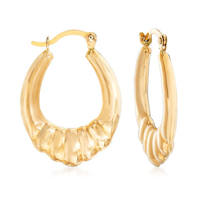 14kt Yellow Gold Scalloped Hoop Earrings, , default