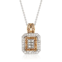 C. 1990 Vintage 1.20 ct. t.w. Champagne and White Diamond Pendant Necklace in 14kt White Gold, , default