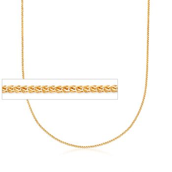 """1mm 14kt Yellow Gold Adjustable Wheat Chain Necklace. 22"""", , default"""