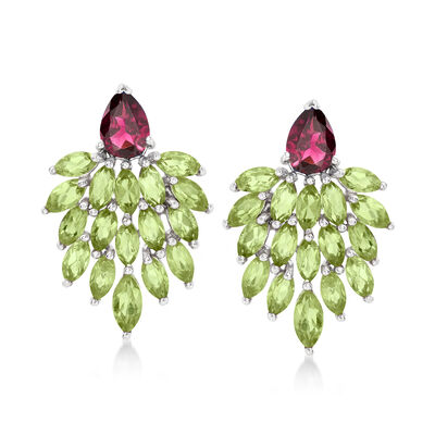 5.00 ct. t.w. Peridot and 1.70 ct. t.w. Rhodolite Cluster Drop Earrings in Sterling Silver