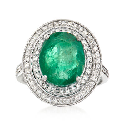 6.30 Carat Emerald and .54 ct. t.w. Diamond Ring in 14kt White Gold