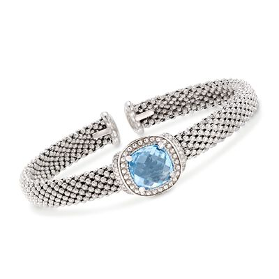 "Phillip Gavriel ""Popcorn"" 5.00 Carat Blue Topaz and .11 ct. t.w. Diamond Cuff Bracelet in Sterling Silver"