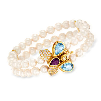 C. 1995 Vintage Cultured Pearl and Multi-Gemstone Double-Row Butterfly Bracelet in 14kt Yellow Gold, , default