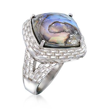 Black Mother-Of-Pearl Doublet Ring in Sterling Silver, , default