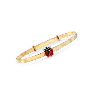 Child's 14kt Yellow Gold Ladybug Bangle Bracelet With Enamel, , default