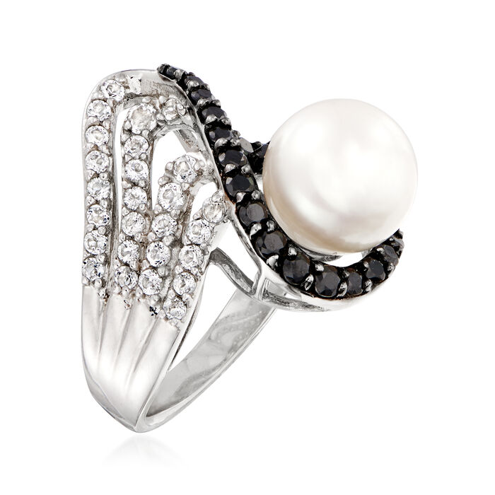 9.5-10mm Cultured Pearl, .70 ct. t.w. Black Spinel and .50 ct. t.w. White Topaz Ring in Sterling Silver