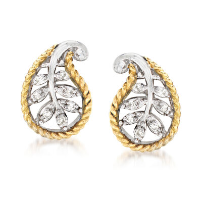 Andrea Candela Diamond-Accented Leaf Earrings in Sterling Silver with 18kt Yellow Gold