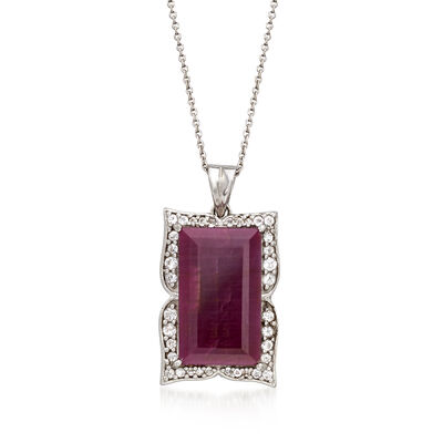 14.00 Carat Ruby and .48 ct. t.w. White Topaz Frame Pendant Necklace in Sterling Silver, , default