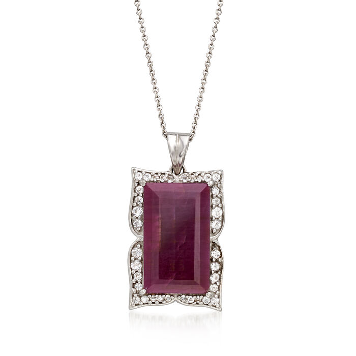 "14.00 Carat Ruby and .48 ct. t.w. White Topaz Frame Pendant Necklace in Sterling Silver. 18"", , default"