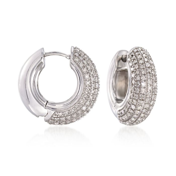 1.00 ct. t.w. Pave Diamond Huggie Hoop Earrings in Sterling Silver. 5/8""
