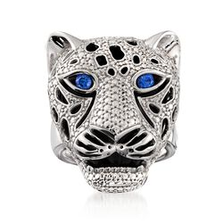 Black Onyx and .10 ct. t.w. Sapphire Panther Head Ring in Sterling Silver. Size 8, , default