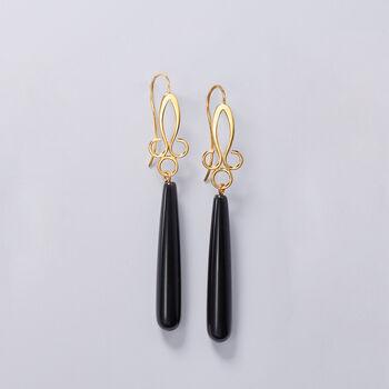Long Teardrop Black Onyx Drop Earrings in 14kt Yellow Gold
