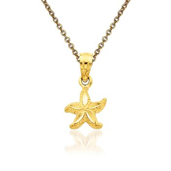 """14kt Yellow Gold Starfish Pendant Necklace. 18"""", , default"""