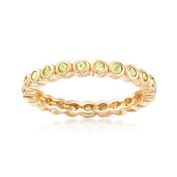 1.20 ct. t.w. Bezel-Set Peridot Eternity Band in 18kt Gold Over Sterling. Size 6, , default