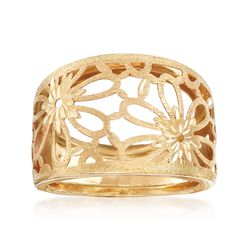 Italian 14kt Yellow Gold Flower Cut-Out Ring, , default
