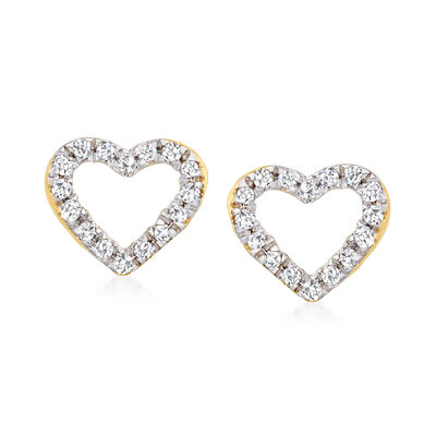 Diamond-Accented Open-Space Heart Earrings in 14kt Yellow Gold