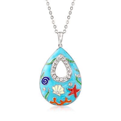 .54 ct. t.w. White Topaz and Multicolored Enamel Sea Life Pendant Necklace in Sterling Silver
