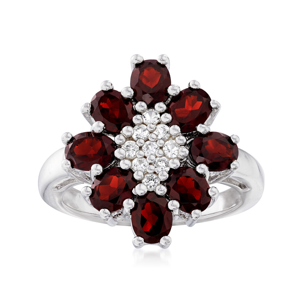 060896b79 4.00 ct. t.w. Garnet and .30 ct. t.w. White Topaz Flower Ring in ...