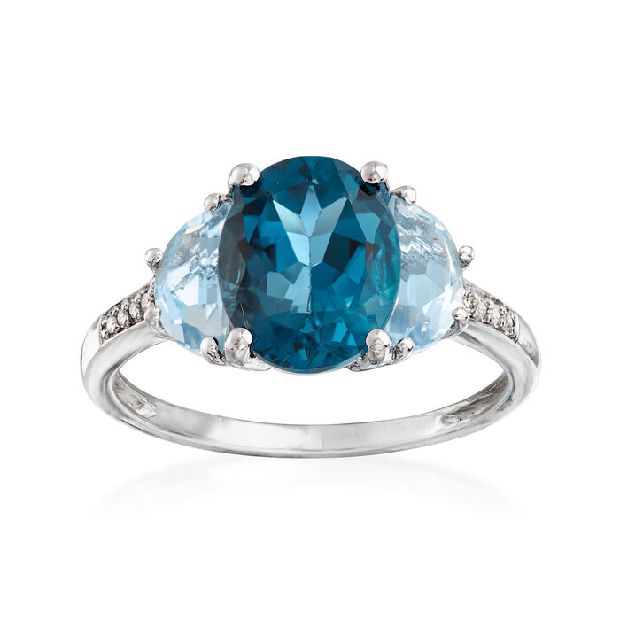 4.50 ct. t.w. London and Sky Blue Topaz Ring with Diamond Accents in Sterling Silver, , default