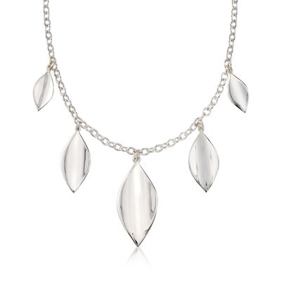 "Zina Sterling Silver Five ""Smooth Leaf"" Drop Necklace, , default"