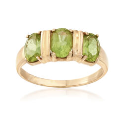 C. 1980 Vintage 2.40 ct. t.w. Peridot Three-Stone Ring in 14kt Yellow Gold, , default