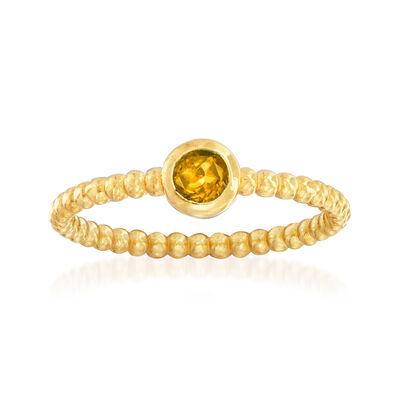 "Phillip Gavriel ""Popcorn"" .20 Carat Citrine Beaded Ring in 14kt Yellow Gold"