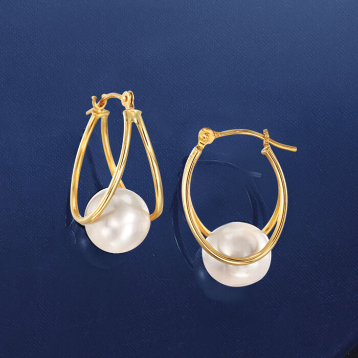 8-9mm Cultured Pearl Double-Hoop Earrings in 14kt Yellow Gold