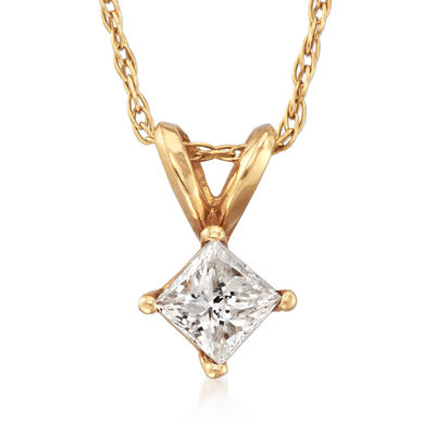 C. 1990 Vintage .30 Carat Diamond Pendant Necklace in 14kt Yellow Gold, , default