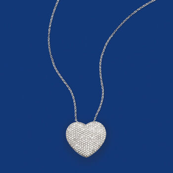 2.00 ct. t.w. Pave Diamond Heart Pendant Necklace in 14kt White Gold, , default