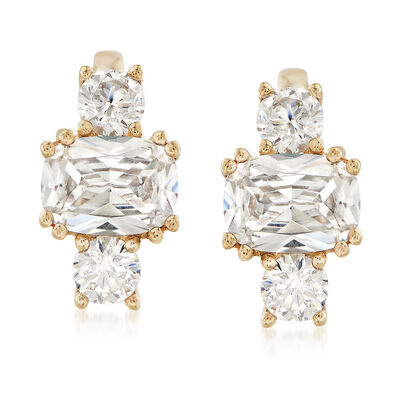 2.60 ct. t.w. Cushion-Cut and Round CZ Cluster Earrings in 14kt Yellow Gold, , default