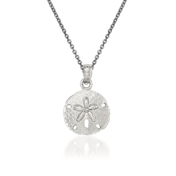 "14kt White Gold Sand Dollar Pendant Necklace. 18"", , default"