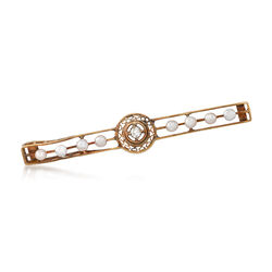 C. 1950 Vintage 2.5mm Cultured Pearl Open Bar Pin With Diamond Accent in 14kt Yellow Gold, , default