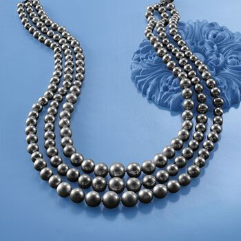 6-12.5mm Black Cultured Pearl Three-Strand Necklace with 14kt Yellow Gold, , default